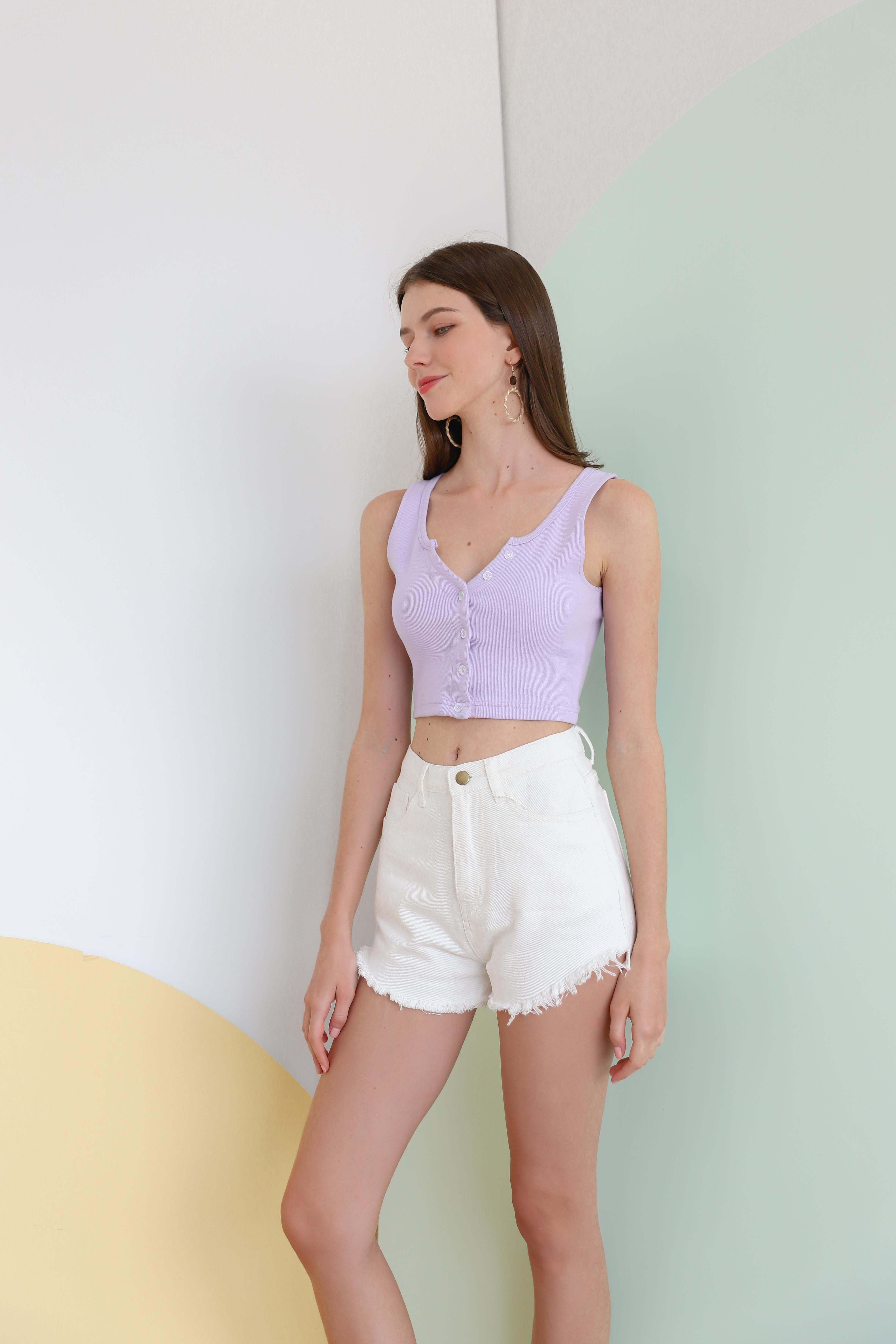 Hustle Ribbed Top in Lilac