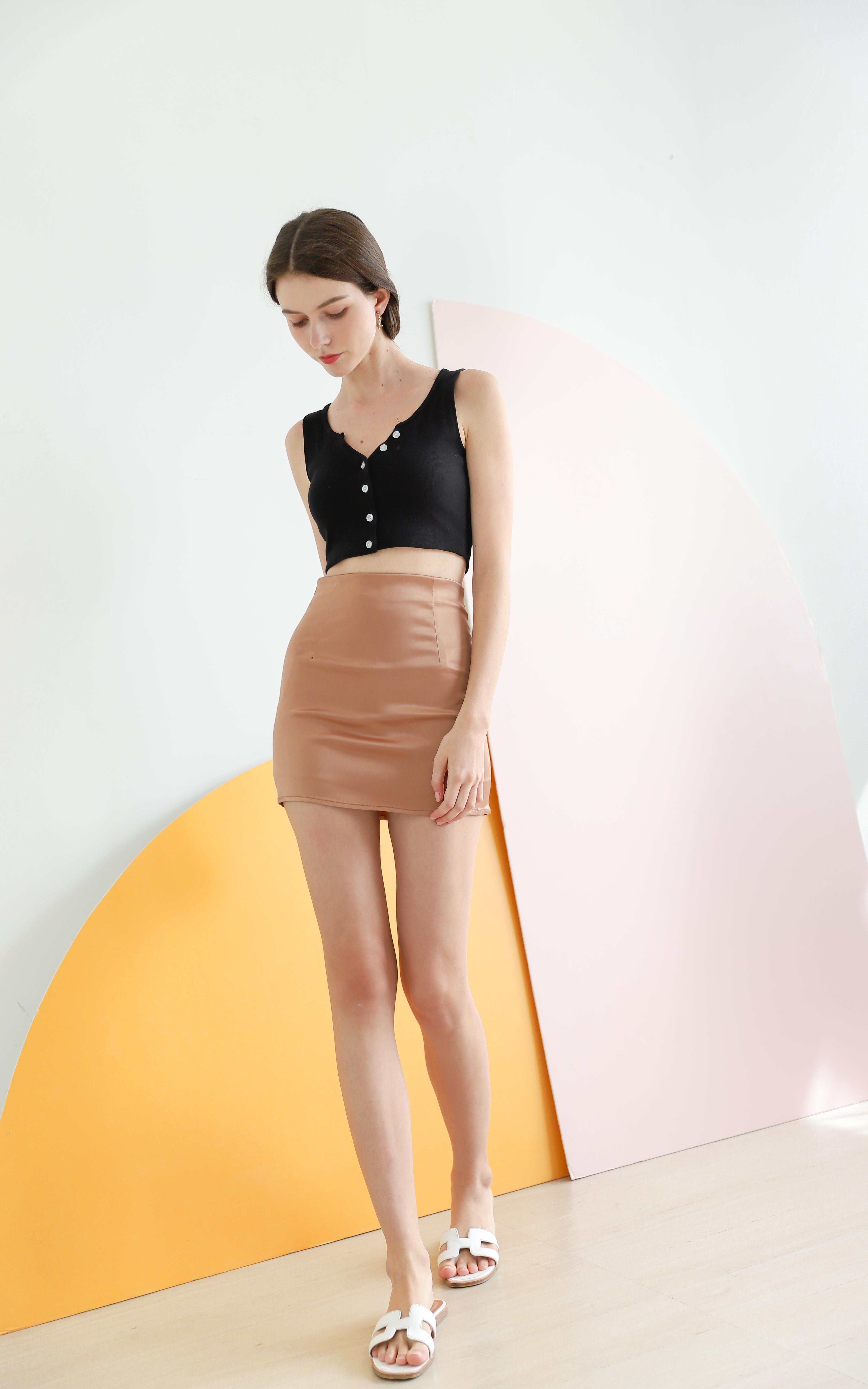 Kandra Leather Satin Skirt in Metallic Orange