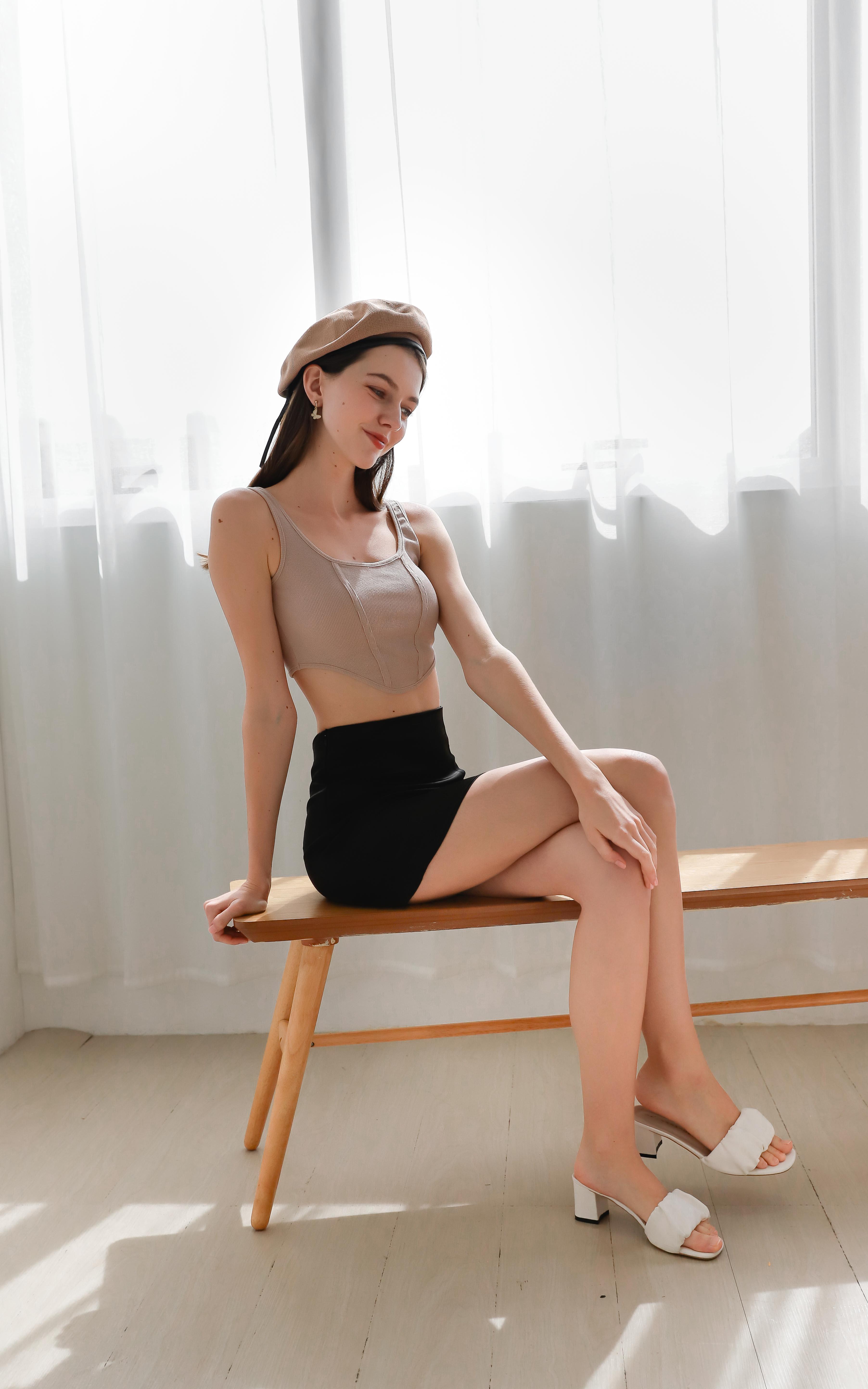 Kandra Leather Satin Skirt in Black