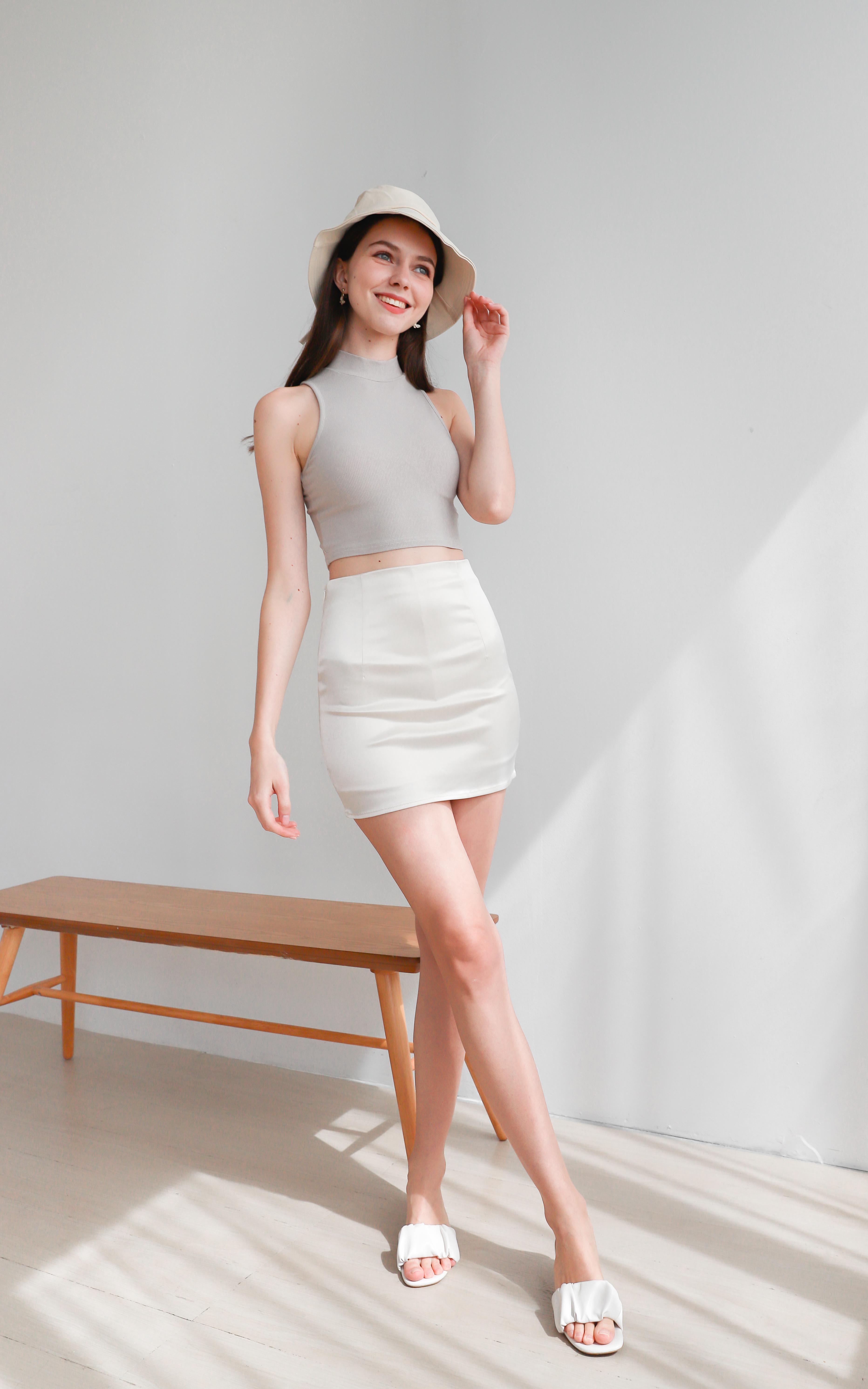 Kandra Leather Satin Skirt in Pearl White
