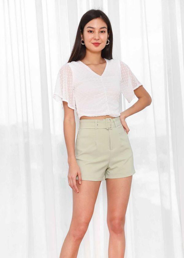 Caden Highwaist Shorts in Pastel Sage #6stylexclusive