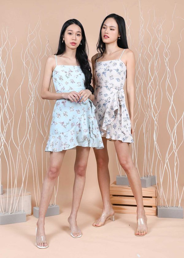 Gisalle Floral Romper in Tiffany Blue #6stylexclusive