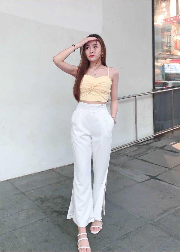 Zrea Bell Slit Pants in White #6stylexclusive
