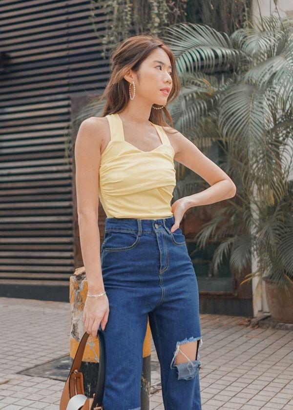 Aurelia Halter 2 way Cross Top in Sunshine Yellow #6stylexclusive