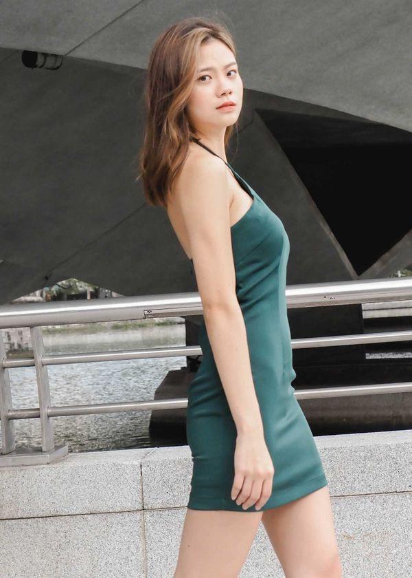 Quinn Halter Padded Dress in Emerald Green #6stylexclusive
