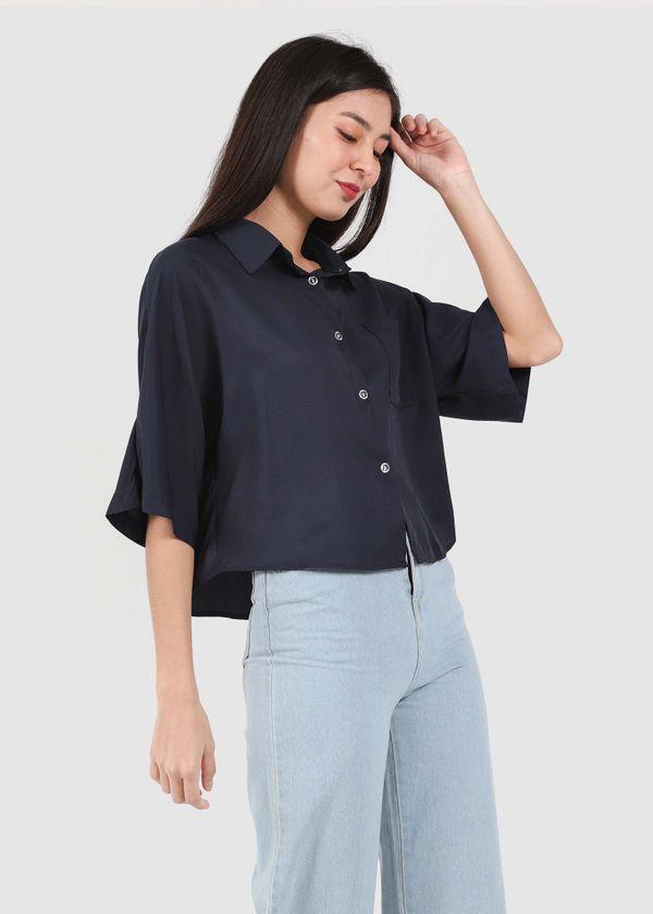Valene Collar Shirt Blouse in Navy #6stylexclusive