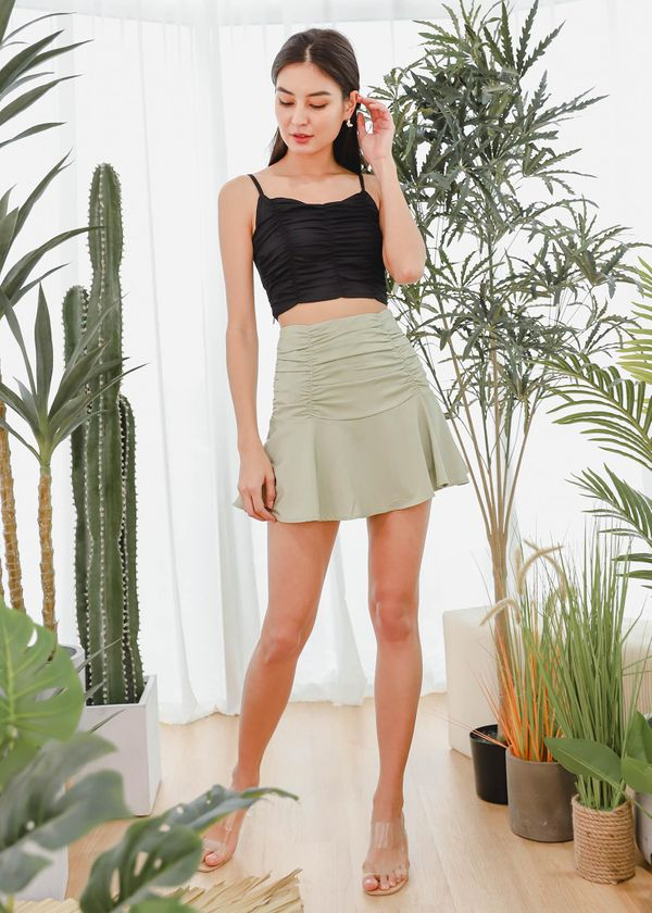 Bevy Satin Ruched Skorts in Apple Green #6stylexclusive
