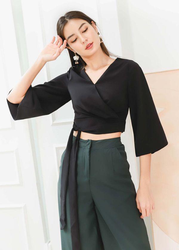 Reyla Kimono Wrap Top in Black #6stylexclusive