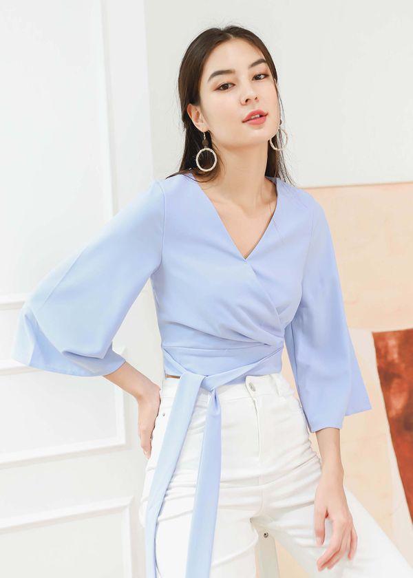 Reyla Kimono Wrap Top in Lilac Blue #6stylexclusive