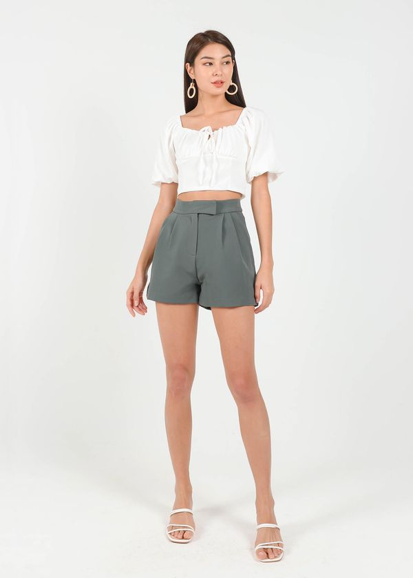 Buckle It Up Highwaisted Shorts in Graphite Green #6stylexclusive