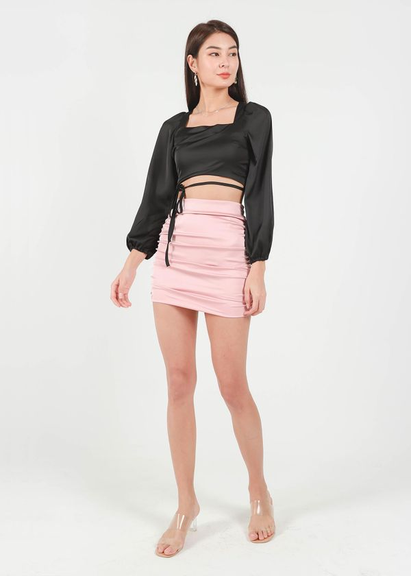 Raquel Satin Ruched Skirt in Rose Pink #6stylexclusive