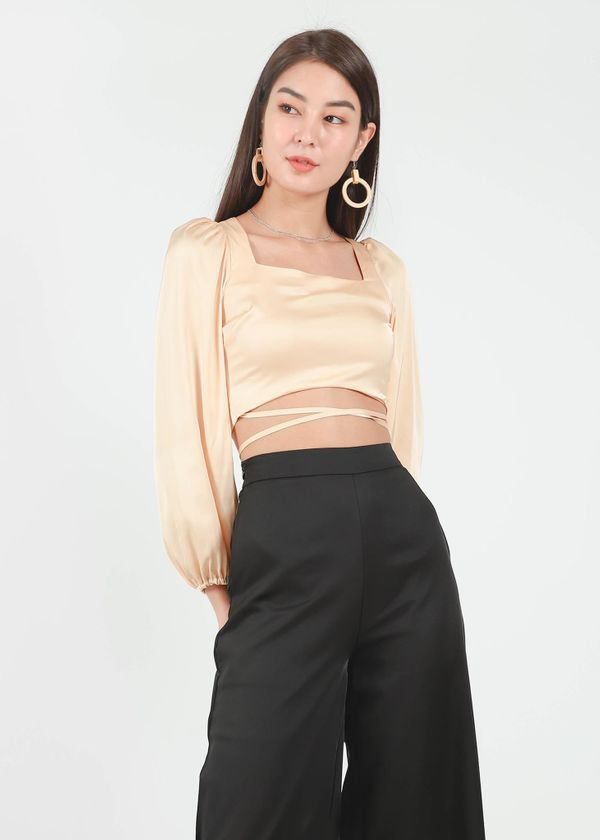 Lyla Satin Square Neck Top in Mellow Gold #6stylexclusive