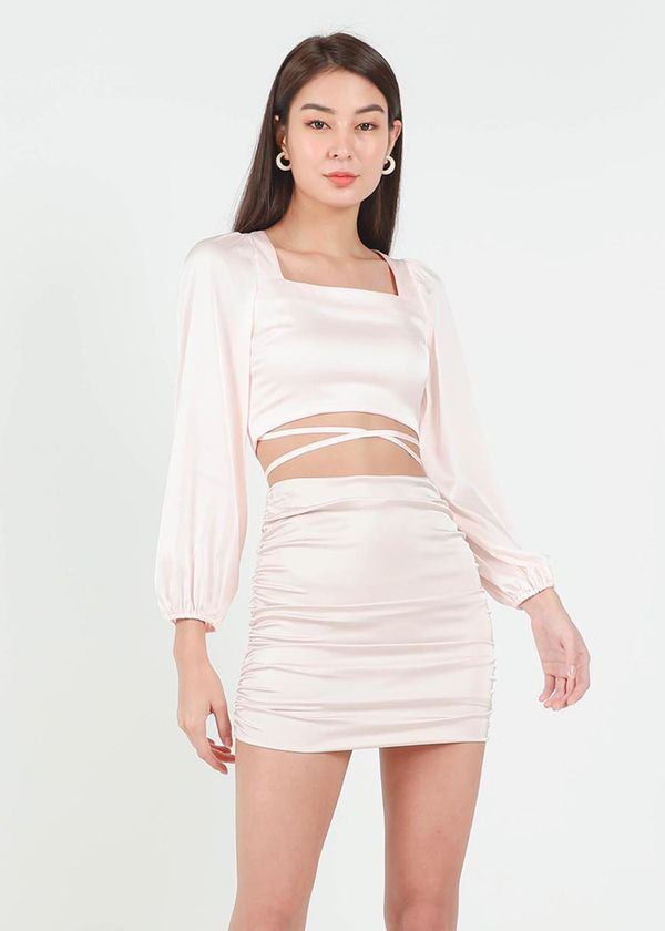 Lyla Satin Square Neck Top in Light Pink #6stylexclusive