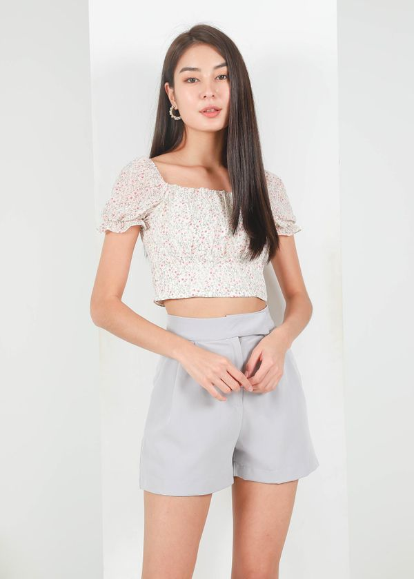 Natti Ruched Top in White