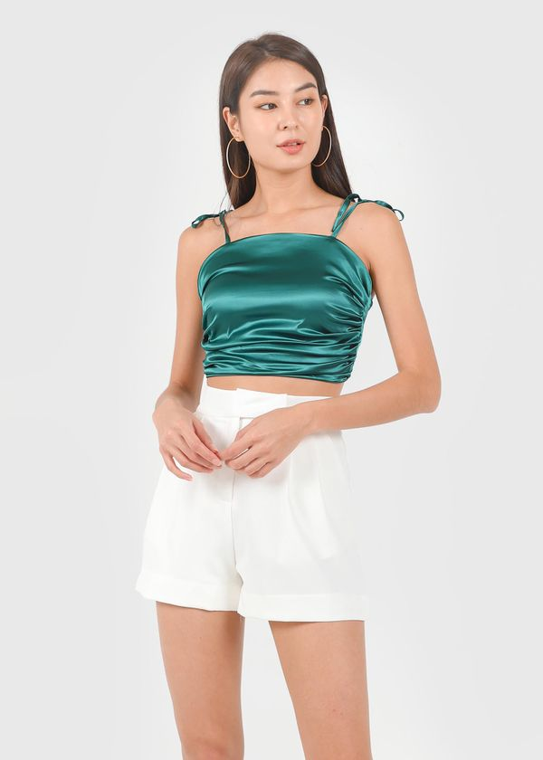 Ellie Satin Ruched Top in Emerald Green #6stylexclusive