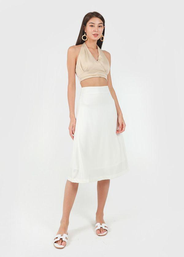 Kale Midi Satin Skirt in Off-White #6stylexclusive