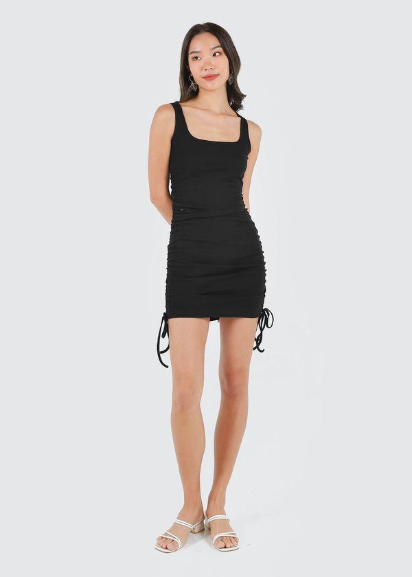Naella Ruched Dress in Black