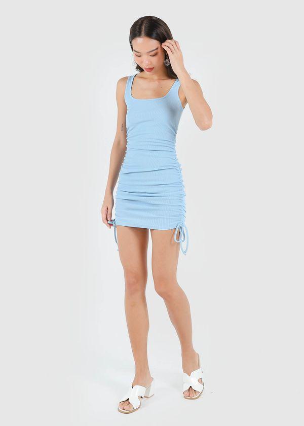Naella Ruched Dress in Cloudy Blue