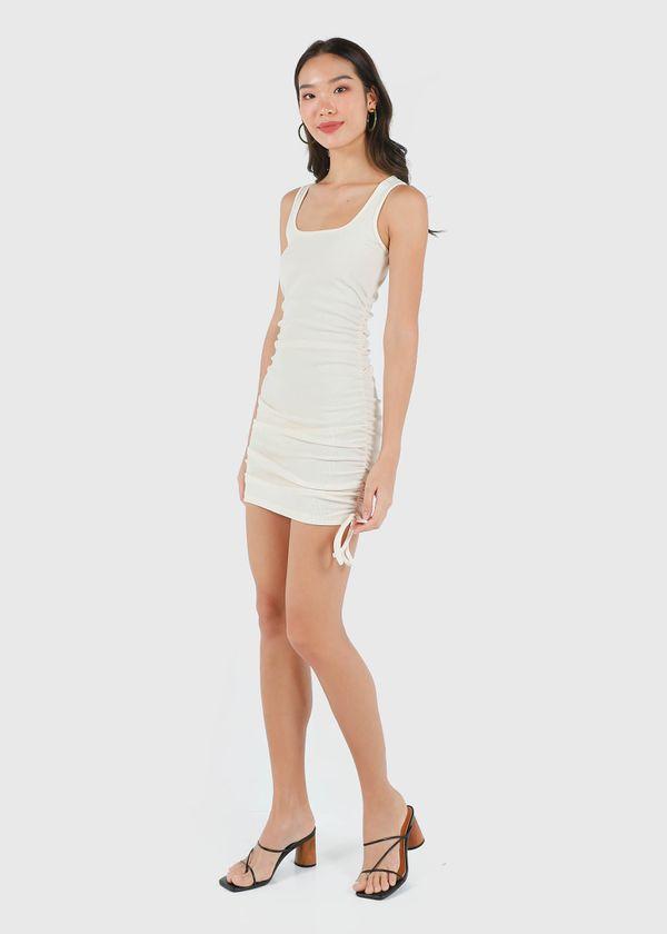Naella Ruched Dress in Cream