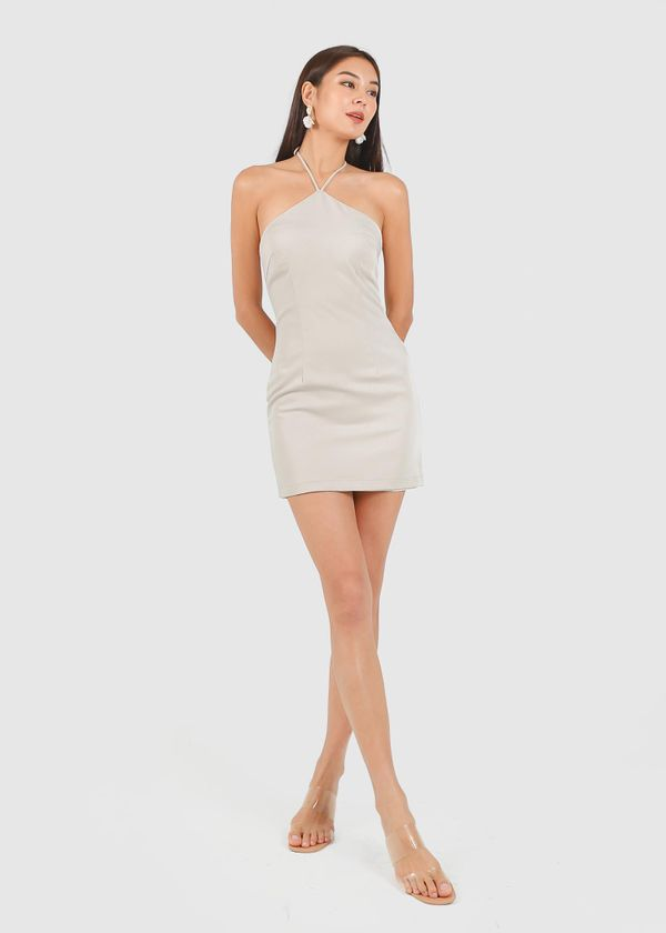 Quinn Halter Padded Dress in Pearl Grey #6stylexclusive