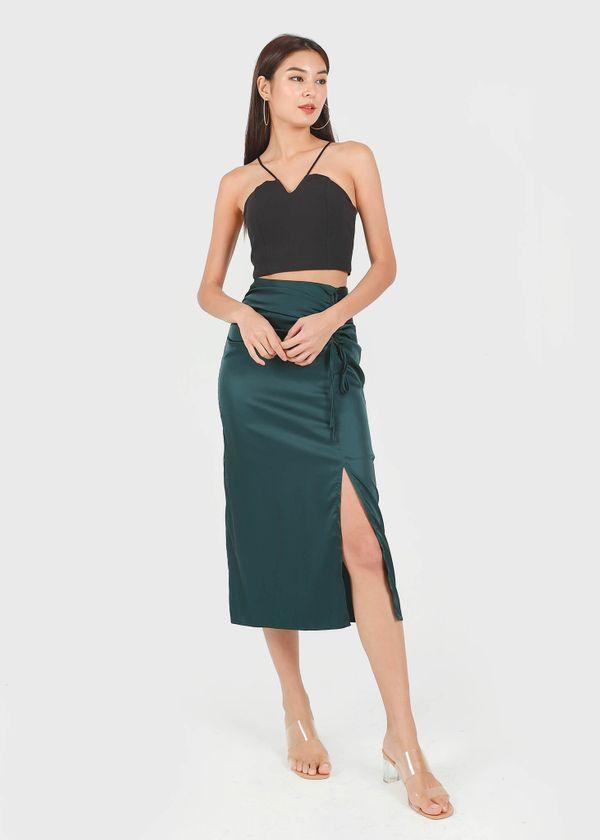 Brea Satin Midi Slit Skirt in Emerald Green #6stylexclusive