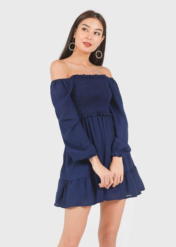 Fairy 2-Way Chiffon Tiered Dress in Navy #6stylexclusive