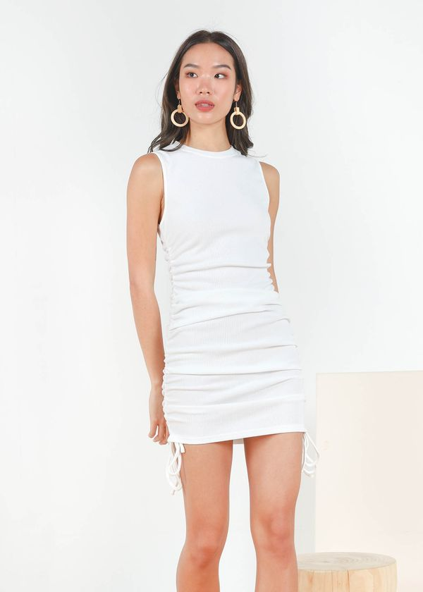 Maella Ruched Racer Dress in White