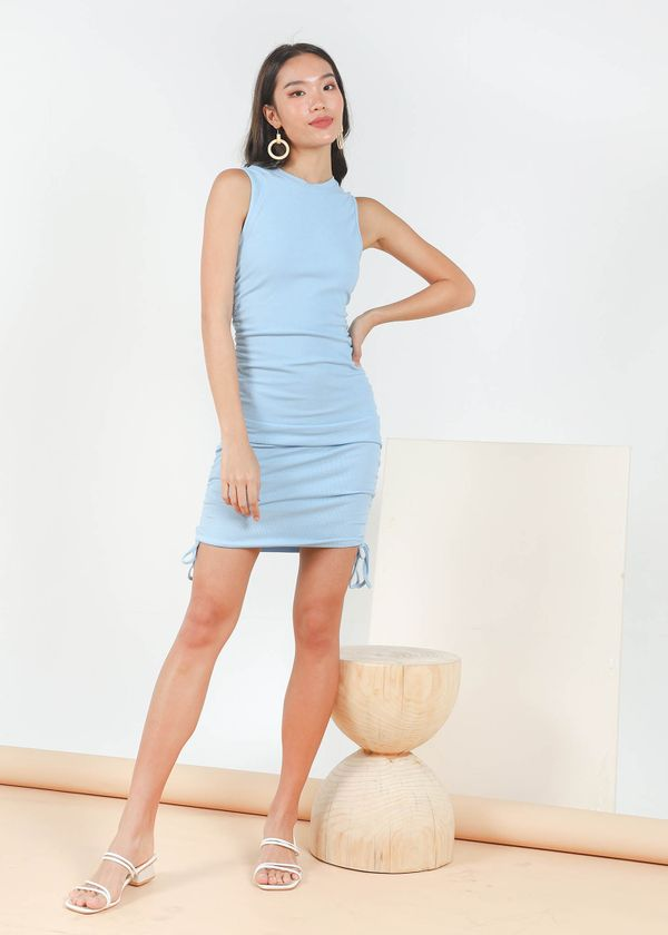 Maella Ruched Racer Dress in Cloudy Blue