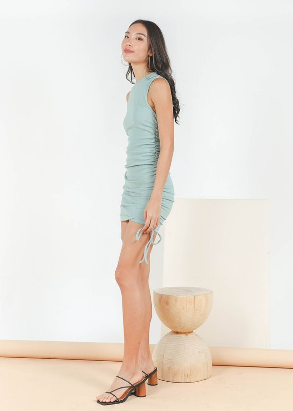Maella Ruched Racer Dress in Sage