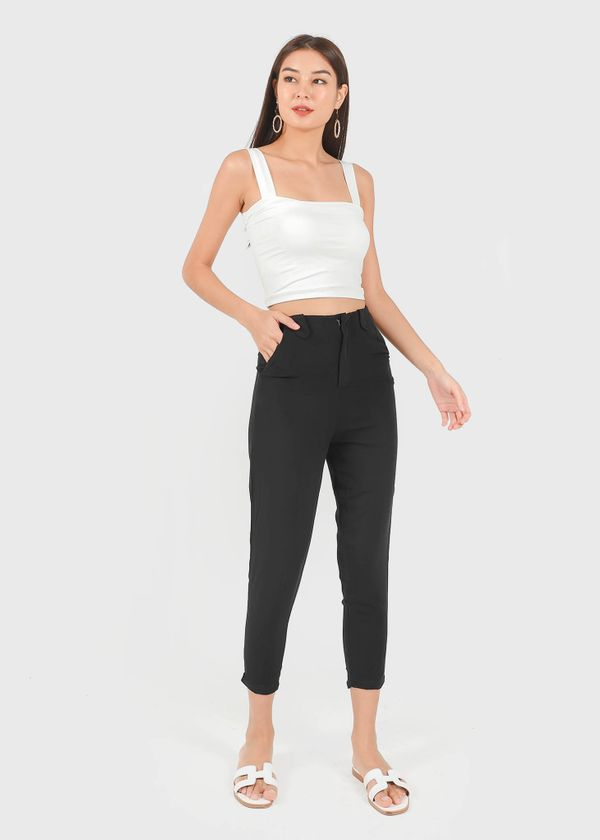 Shelia Buckle Tapered Panel Pants in Black #6stylexclusive