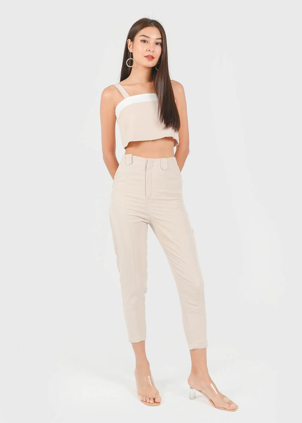 Shelia Buckle Tapered Panel Pants in Sand #6stylexclusive