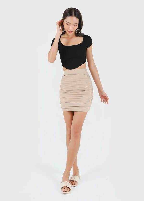 Bran Ruched Skirt in Sand