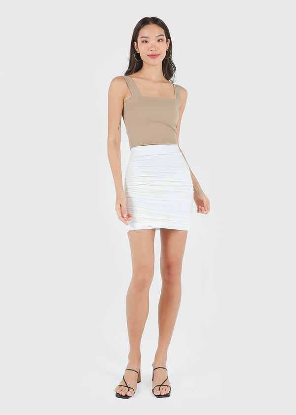 Bran Ruched Skirt in White