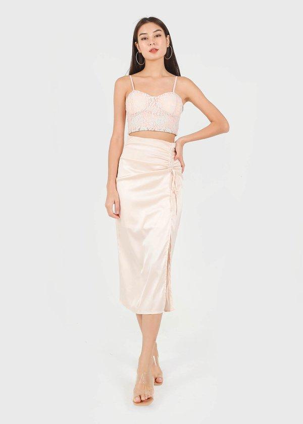 Brea Satin Midi Slit Skirt in Champange Pink #6stylexclusive