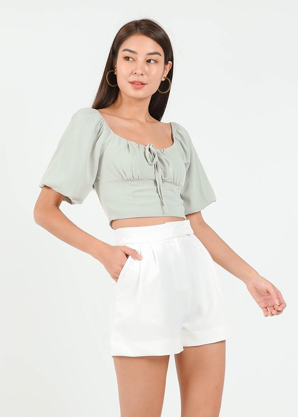 Buckle It Up Highwaisted Shorts in White #6stylexclusive