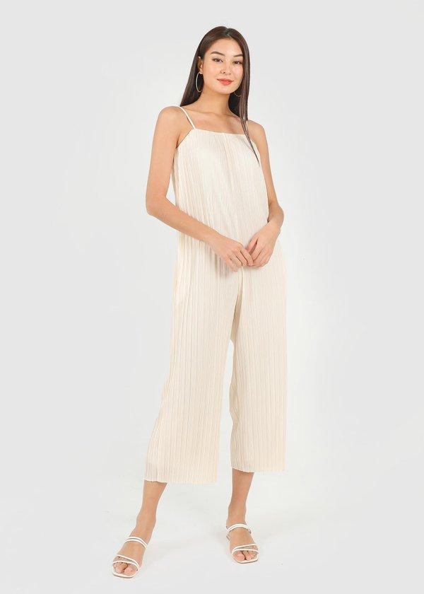 Cleo Pleated Jumpsuit in Cream #6stylexclusive