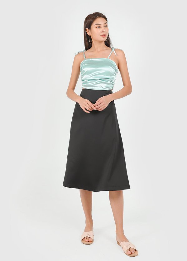 Ellie Satin Ruched Top in Mint Green #6stylexclusive