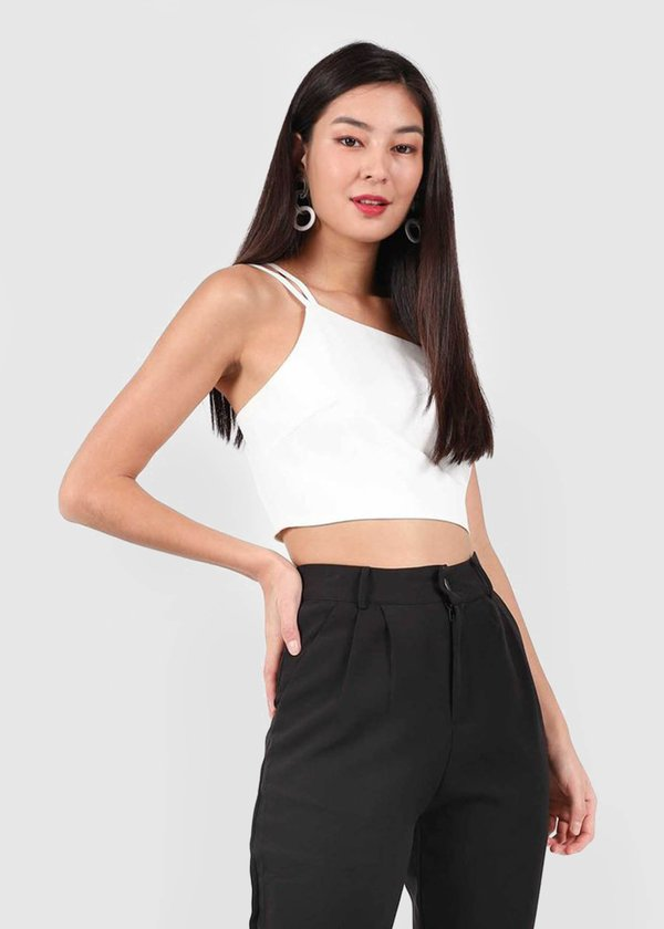 Chloe Double Strap Toga Top in White #6stylexclusive