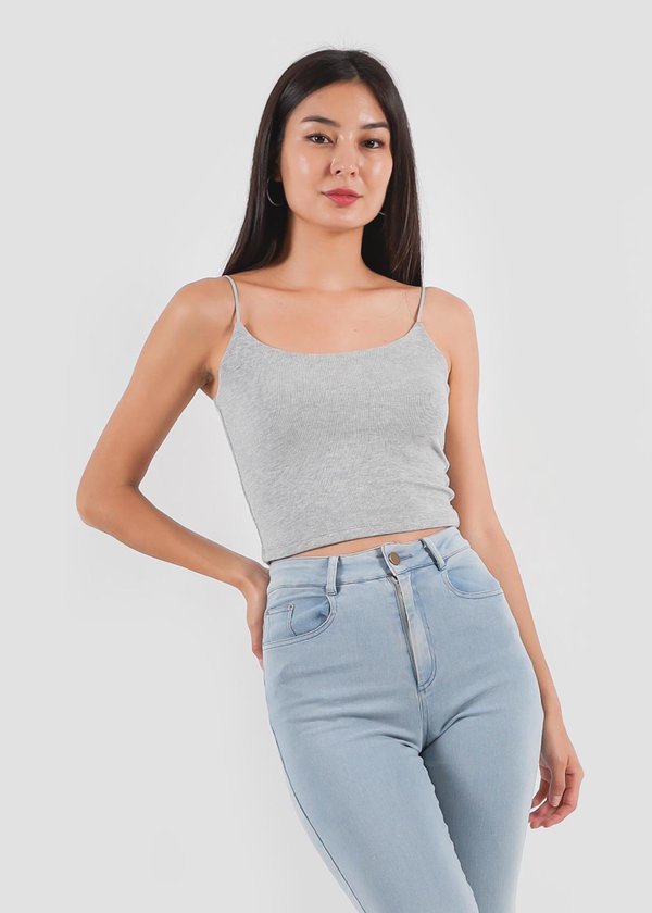Basic Soft Ribbed Top In Grey