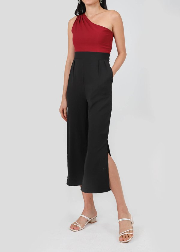 Athena Toga Colorblock Jumpsuit in Maroon X Black #6stylexclusive