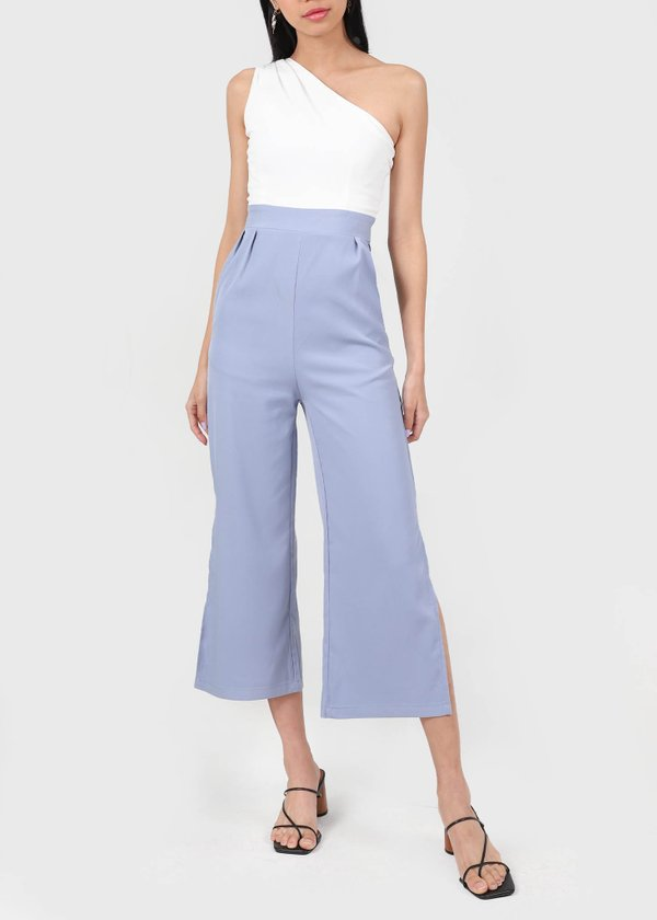 Athena Toga Colorblock Jumpsuit in White X Periwinkle #6stylexclusive