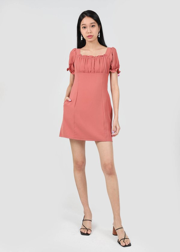 Ellena Ruched Mini Puffy Dress in Rosewood #6stylexclusive