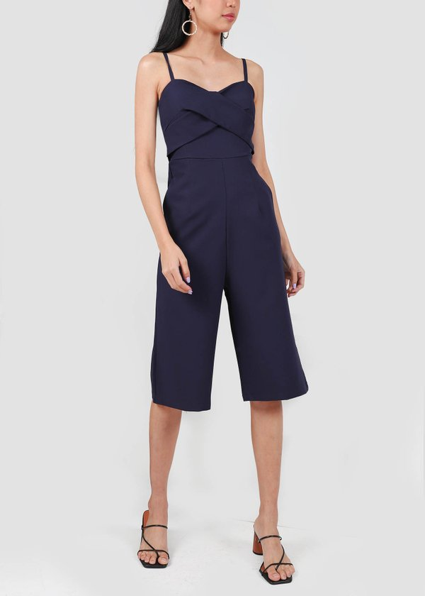 Karther 3/4 Padded Jumpsuit in Navy #6stylexclusive