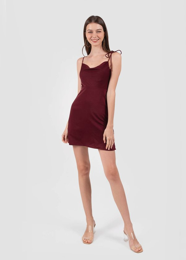 Willow Cowl Neck Dress in Wine Red #6stylexclusive