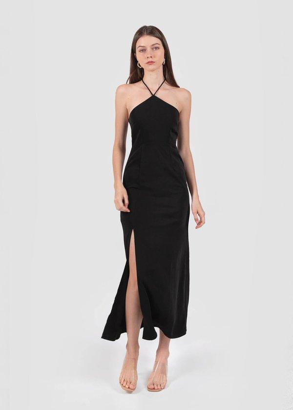 Tiara Halter Maxi Dress in Black #6stylexclusive