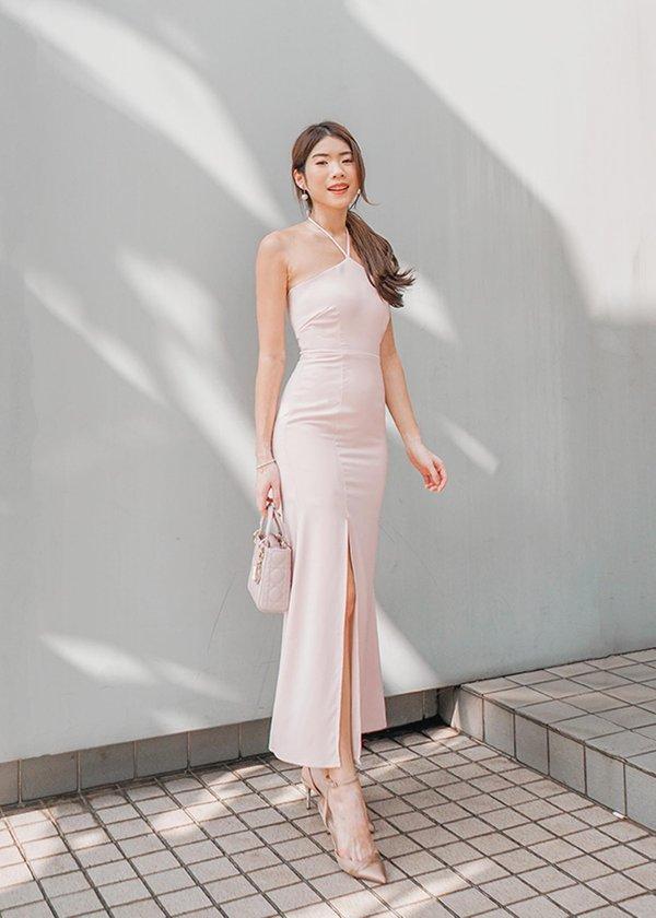 Tiara Halter Maxi Dress in Pastel Pink #6stylexclusive