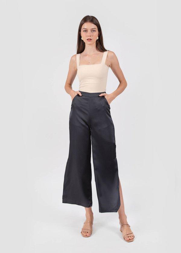 Heidi Slit Pants in Metallic Blue #6stylexclusive