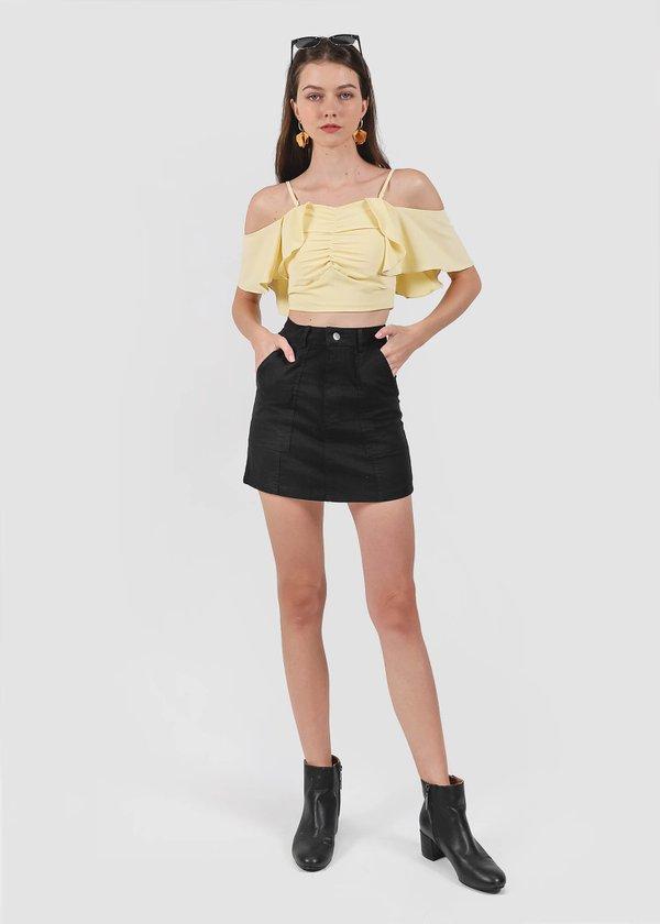 Tovia Denim Skirt in Black #6stylexclusive