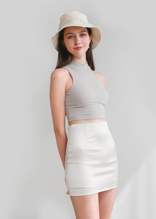 Kandra Leather Satin Skort in Pearl White