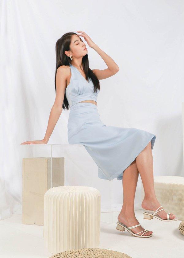 Kale Midi Satin Skirt in Baby Blue #6stylexclusive